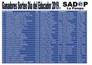 Lee más sobre el artículo Sorteo Día del Educador SADOP La Pampa 2019